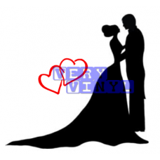 Wedding Couple - Bride & Groom With Hearts